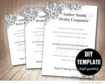 Diy Silver Wedding Invitation Template Instant Download Etsy