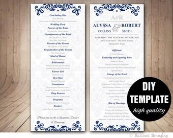 navy blue wedding program template instant download etsy