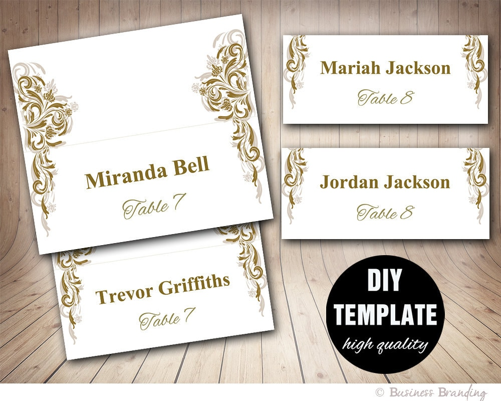 Antique Gold Wedding Placecard Template Diy Gold Place Card Etsy