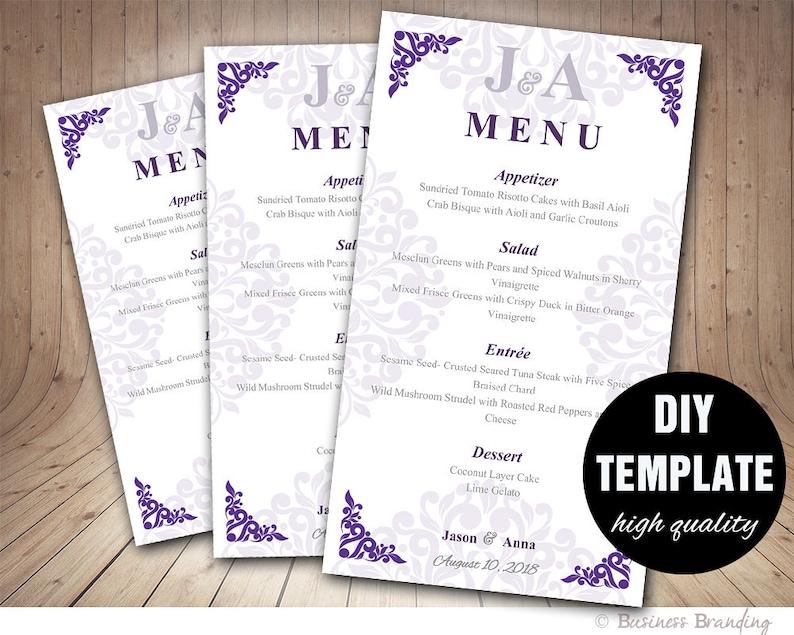 3beb409cfc0b38 Fioletowy menu wesele karta-szablon wesele DIY menu fioletowy | Etsy
