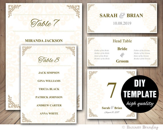 gold wedding seating chart template wedding place card etsy