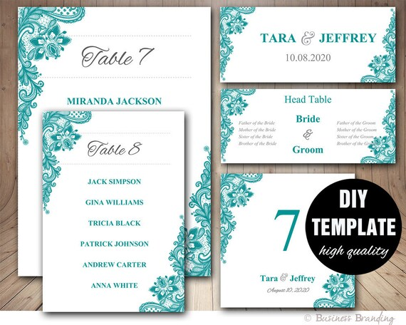 teal wedding seating chart template wedding place card etsy
