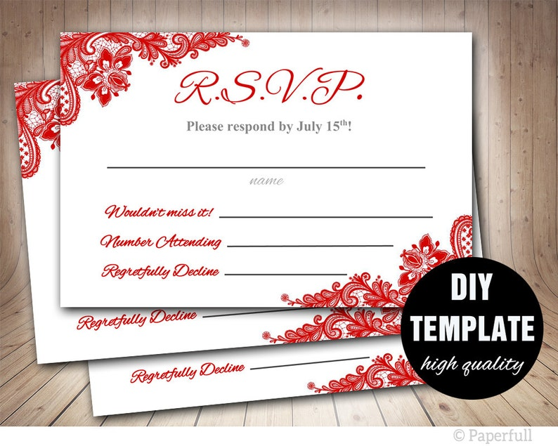 red lace rsvp template red wedding response card red