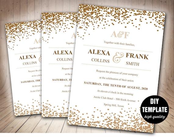 Stilvolle Hochzeit Einladung Vorlage In Gold Druckbare Hochzeitseinladung Goldene Hochzeit Einladung Vorlage Goldene Hochzeitseinladung Druckbare
