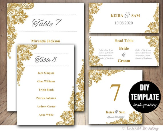 Gold Hochzeit Sitz Diagramm Vorlage festgelegt Hochzeit Karte   Etsy