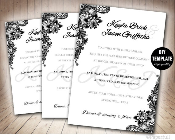 Black Wedding Invitationblack And White Wedding Invitation Etsy
