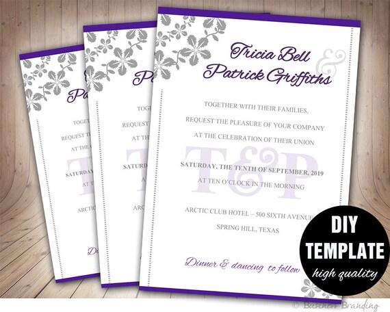 Szablon Zaproszenia ślubne Diy Instant Download Fioletowy Etsy