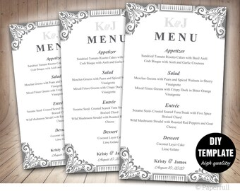 DIY Wedding Menu Template,Silver Wedding Menu Instant Download,Silver Menu Template,Napkin Menu,Grey Menu Template