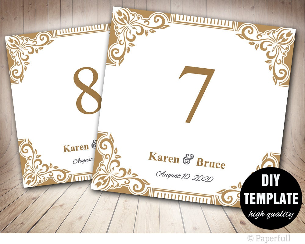 Elegante Gold Tischnummer Gold Hochzeit Karte | Etsy