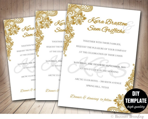Lace Wedding Invitation DIYGold TemplateElegant TemplateGold Invite