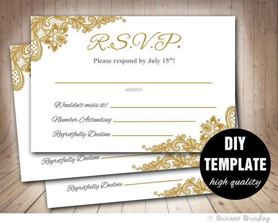 gold wedding rsvp template diyinstant download printable rsvp etsy