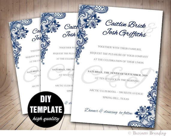navy blue wedding invitation template diyinstant download etsy