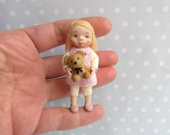 OOAK miniature doll Girl TODDLER . 1:12 Dollhouse miniature doll POSEABLE. Polymer clay Handsculpt art doll. Artist Doll