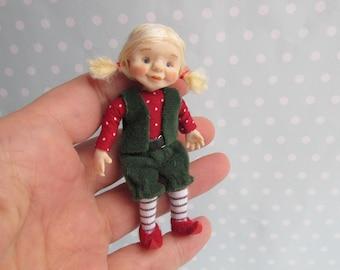 OOAK miniature Fairy, GNOME, Elf, Pixie doll 1:12 Dollhouse miniature doll POSEABLE. Polymer clay Handsculpt art doll. Artist made