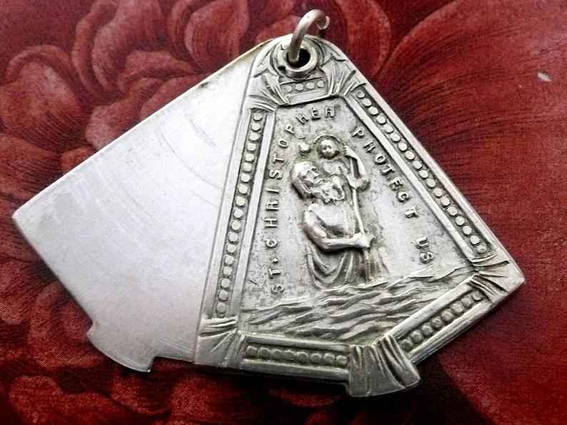 808b470cd8a Vintage Sterling Silver Sliding Saint Christopher Medal | Etsy