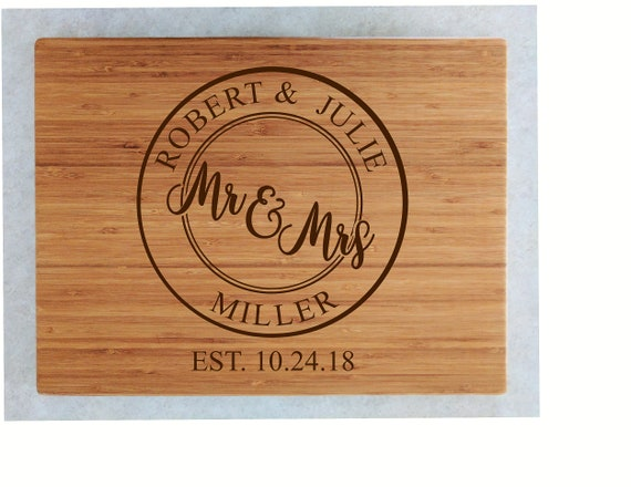 Personalized Bamboo Cutting Board Personalized Wedding Gift Etsy