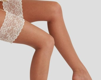 618665710bb Beautiful Wedding Hold-Up Stockings - Deep Ivory Lace Tops with Contrast  Delicate Tan Sheer Legs