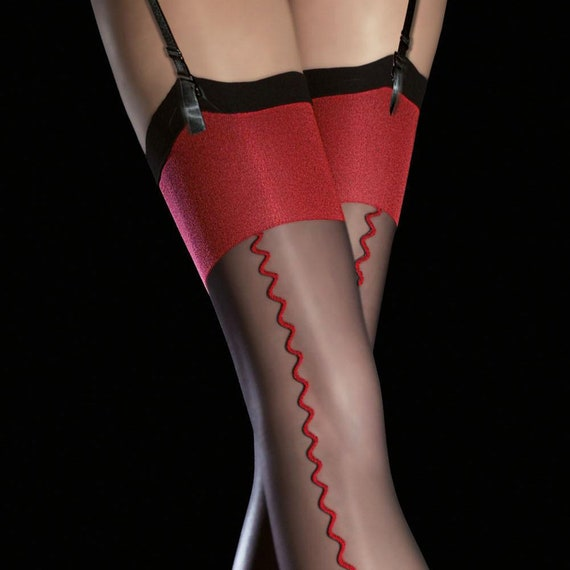 Retro Burlesque Style Vintage Gothic Seamed Stockings in Black with Red Zig Zag Seams and Feature Thigh Welts