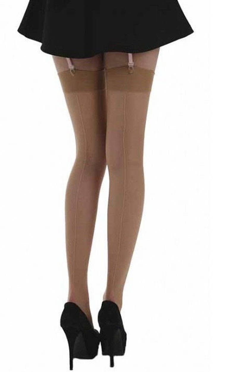 Wedding Vintage Style Seamed Stockings in Pale Tan with Pink Seams and Point Heels
