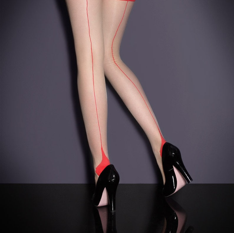 Retro Burlesque Style Vintage Seamed Stockings in Pale Tan with Red Seams and Point Heels