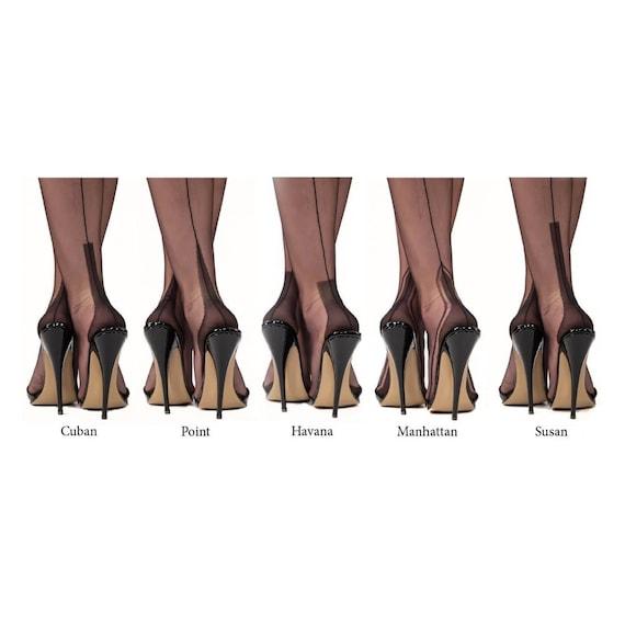 Pin-Up Vintage Burlesque Cuban Heel Seamed Stockings Backseam Thigh Highs
