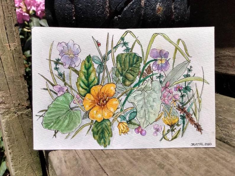 Floral Summer Watercolor Ink Painting Original Flowers image 0