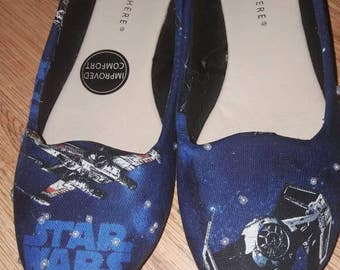sports shoes 9ab7b 61bf4 Handmade to order womens star wars customised pearl gem flat pump shoes