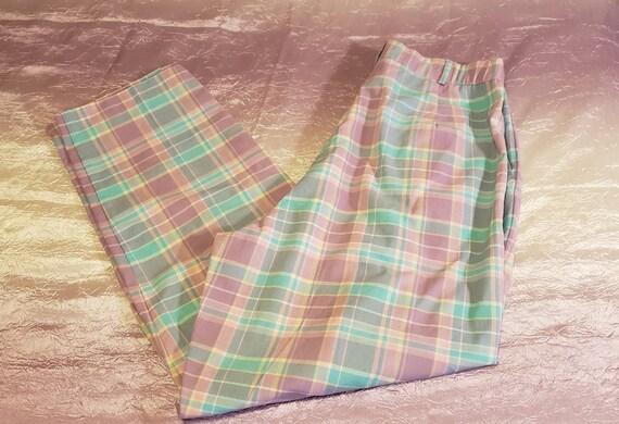Vintage 80s Jantzen KAWAII Pastel Checked Pants WO