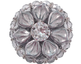 Art Deco Cabinet Knob Swarovski Crystal & Czech Glass/Kitchen Cabinet Knob/Jeweled Cupboard Hardware/Girls Dresser Drawer Knob/Unique Knob