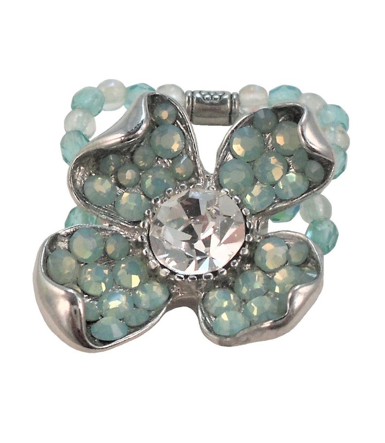 ac58b8df8aeb6 Stretch Ring Swarovski Crystal Flower Pacific Opal Silver Beaded/Unique  Designer Rings/Big Art Deco Cocktail Ring/Size 5 6 7 8 9 10 11 12 13