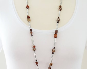 Long Gemstone Necklace,  Red Tiger Eye Necklace, Gemstone Lariat, Jasper Necklace, Tiger Eye Necklace, Long Jasper Necklace, Jasper Lariat