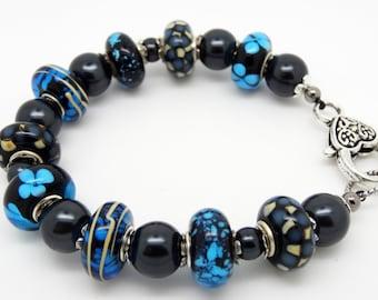 Blue Bracelet, Blue Beaded Bracelet, Glass Bead Bracelet, Lampwork Bracelet, Blue Lampwork Beaded Bracelet