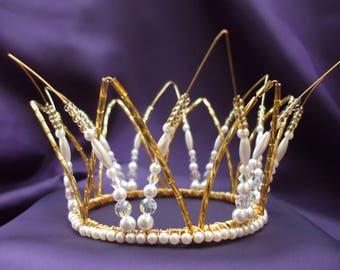 Bridal Crown, Pearl Bridal Tiara, Pearl Crystal Crown, Pearl Crystal Tiara, Bridal Hairpiece, Wedding Crown, Wedding Tiara, Pearl Tiara