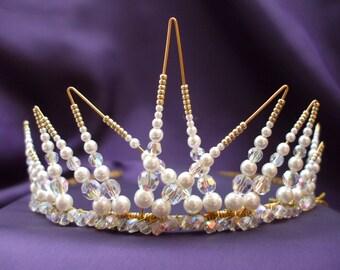 Pearl Bridal Tiara, Pearl Wedding Tiara, Crystal Tiara, Statement Tiara, Pearl and Crystal Tiara, Custom Tiara, Bridal Jewellery,