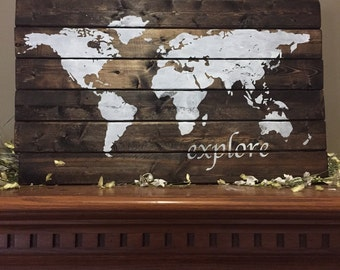 Wood world map etsy world map pallet world wood sign explore world map america wood pallet oh darling not all who wonder are lost custom pallet wood sign gumiabroncs Images
