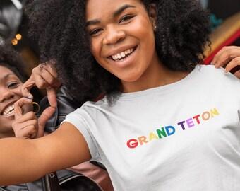 Grand Teton Organic Crop Top | National Park Tees | Colorful, Inclusive, and Organic | LGBTQ