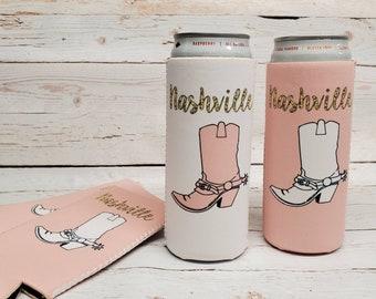 nashville bachelorette cowboy boot can coolers / bachelorette party can coolers / nash bash nash bach/bachelorette party favors BOOT-G