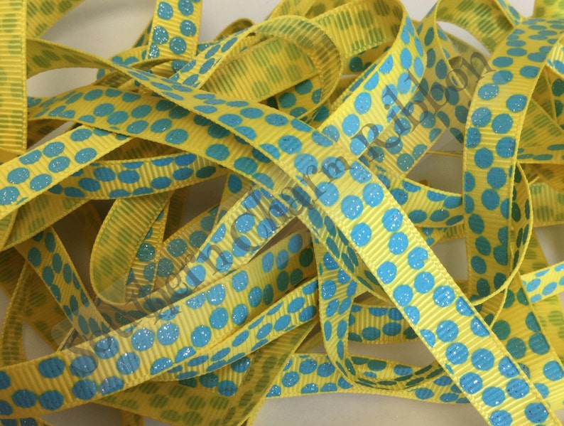 """5 yards Turquoise blue heart print 3//8/"""" grosgrain ribbon by the yard DIY bows"""