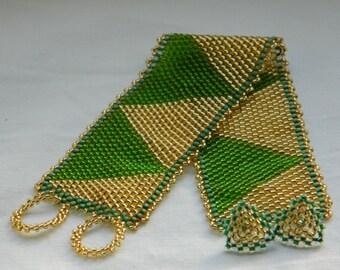 Green, Sea Green and Gold Beadwork Cuff Bracelet