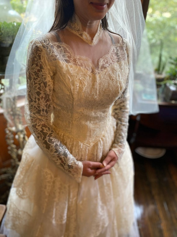Gorgeous Lace 1950s Wedding Dress with Original Ve
