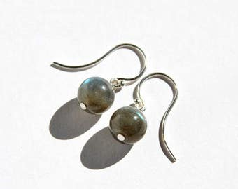 Flashy Labradorite Earrings Sterling Silver Argentium Earwire Smooth Round Simple Iridescent Gray Grey Natural Stone Minimal Earrings #17545