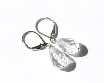 Quartz Crystal Earrings Sterling Silver Faceted Teardrop Briolette Natural Quartz Jewelry Clear Rock Crystal Earrings Simple Elegant #18665