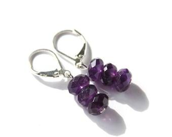 Amethyst Earrings Sterling Silver Faceted Purple Earrings Natural Stone Amethyst Jewelry Gemstone Earrings Simple Violet Earrings #18659