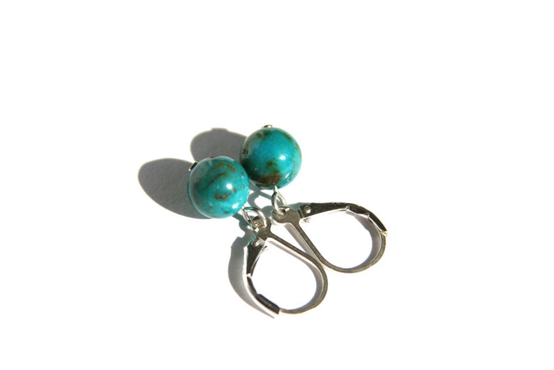Genuine Turquoise Earrings Kingman Arizona Turquoise 8mm Small Sterling Silver Leverback Blue Brown Natural Stone Southwest #19693