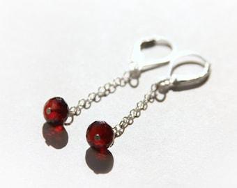 Garnet Minimal Earrings Faceted Beads Dark Red Natural Gemstone Chain Dangle Earrings Sterling Silver Earrings Simple Elegant Minimal #15273