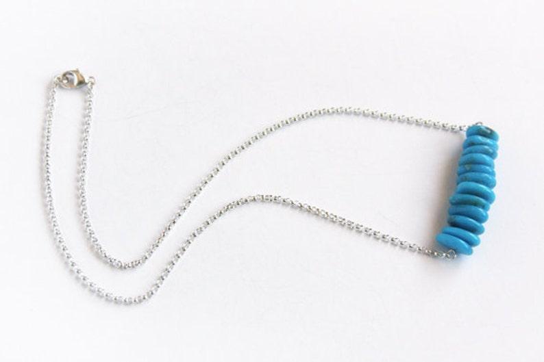 Blue Kingman Turquoise Necklace High Blue Kingman Arizona Genuine Turquoise Chips Gemstone Bar Necklace Natural Stone Chip Bead #16053