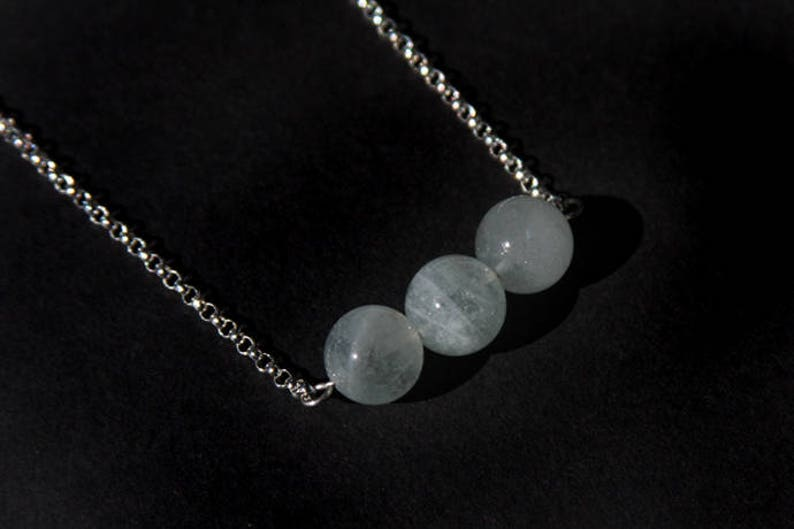 Sterling Aquamarine Necklace Natural Aquamarine Light Aqua Pale Blue Sterling Silver Argentium Chain Gemstone Bar Necklace Three #17535