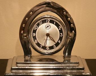 Antique Good Luck HORSESHOE ALARM CLOCK