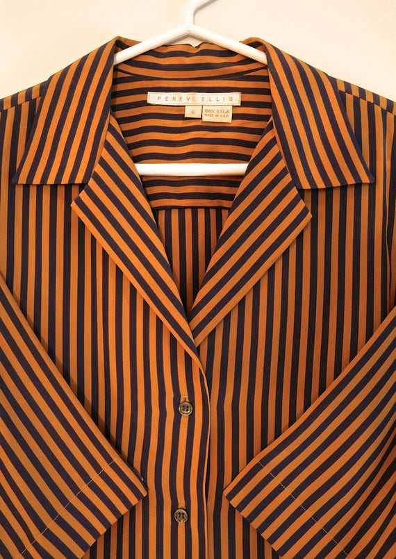 Vintage Short Sleeve Blouse - PERRY ELLIS - image 2