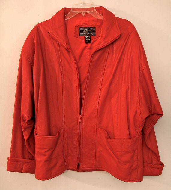 RED LEATHER JACKET - Ladies